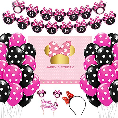 Minnie Mouse Decoraciones Para Cumpleaños Fiesta De Niñas Globos Cake Topper Set