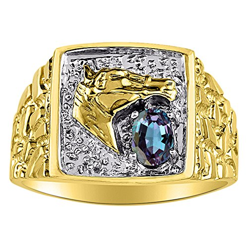 Diamond & Simulated Alexandrite Ring 14K Yellow or 14K White Gold Lucky Horse Head Ring -