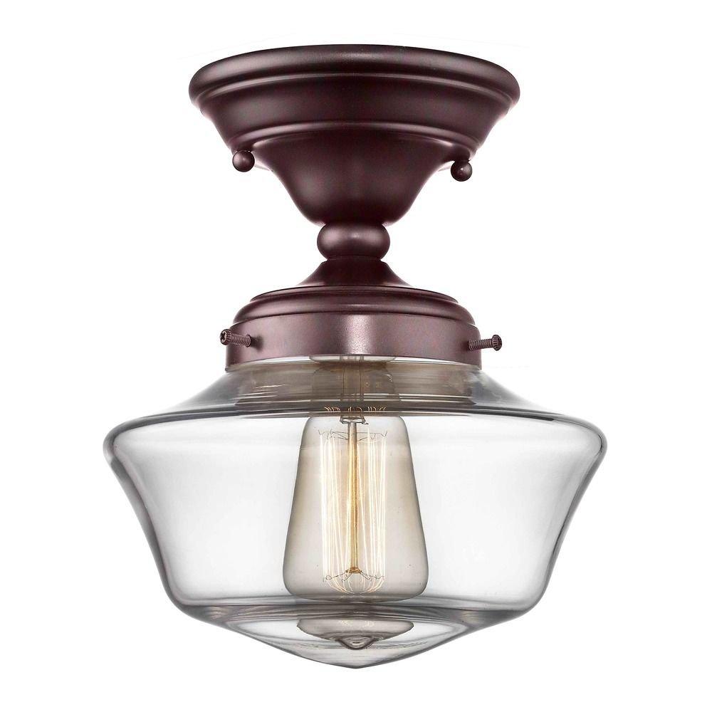 8-Inch Clear Glass Schoolhouse Semi-Flush Ceiling Light in Bronze Finish