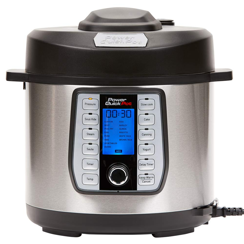 Power Quick Pot 8 QT 37 - in -1 Multi- Use Programmable Pressure Cooker, Slow Cooker, Rice Cooker, Yogurt Maker, Cake Maker, Egg Cooker, Baking, Sauté/Sear, Steamer, Hot Pot, Sous Vide and Warmer