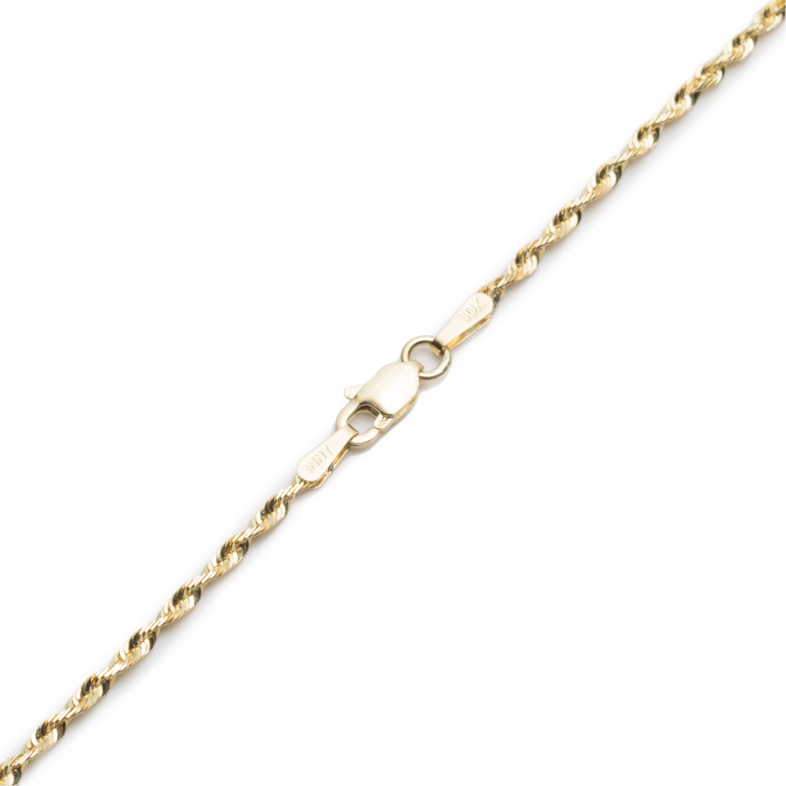 9 Inch 10k Yellow Gold Solid Extra Light Diamond Cut Rope Chain Bracelet and Anklet, 2mm by SL Chain Collection (Image #3)