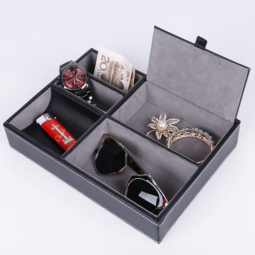 Nero VORCOOL Vassoio portaoggetti in Pelle PU Comodino o cassettiera Porta Chiave Organizzatore Portamonete Telefono Pezzi di Moneta e Altri