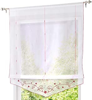 ZebraSmile Adorable Embroidered Floral Tie Up Rod Pocket Semi Sheer Kitchen Window Curtain Embroidered Floral Roman Curtain Lifable, 24 x 55 Inch, Burgundy