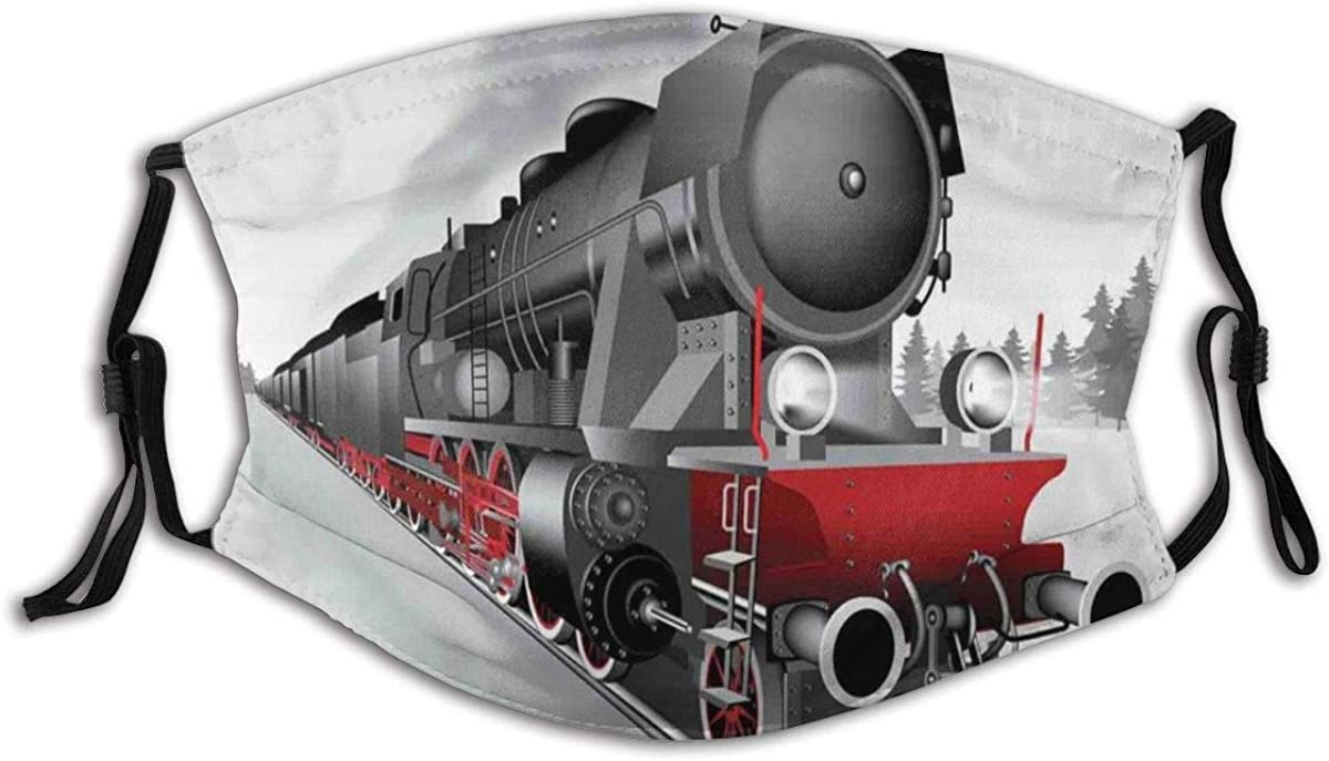 Face Cover Locomotive Red Black Train with Headlights On Steel Railway Track Graphic Print Fabric Cotton Face Masks Washable Cloth Sportmaske for Men Women Cycling Camping Travel
