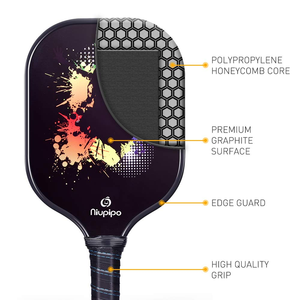 Pickleball Paddle, Graphite Pickleball Racket Polypropylene Honeycomb Core Ultra Cushion 4.5In Grip Lightweight Pickleball paddle 8OZ with Cover, ...