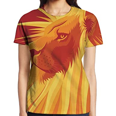 ac6cebb02 Amazon.com: Women's Short Sleeve T Shirt Full Gold Lion Printed Tops Casual  Tee Shirt: Clothing