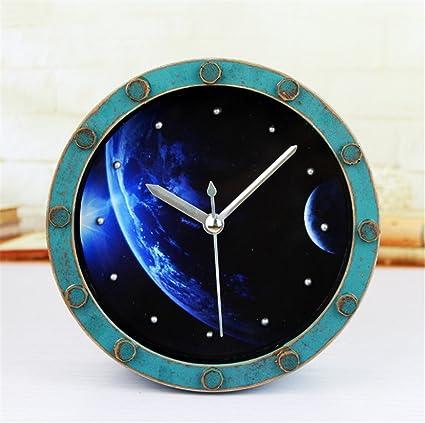 RFVBNM Madera Rust Acuario galaxia galaxia hermoso planeta reloj despertador reloj de escritorio Retro mudo B