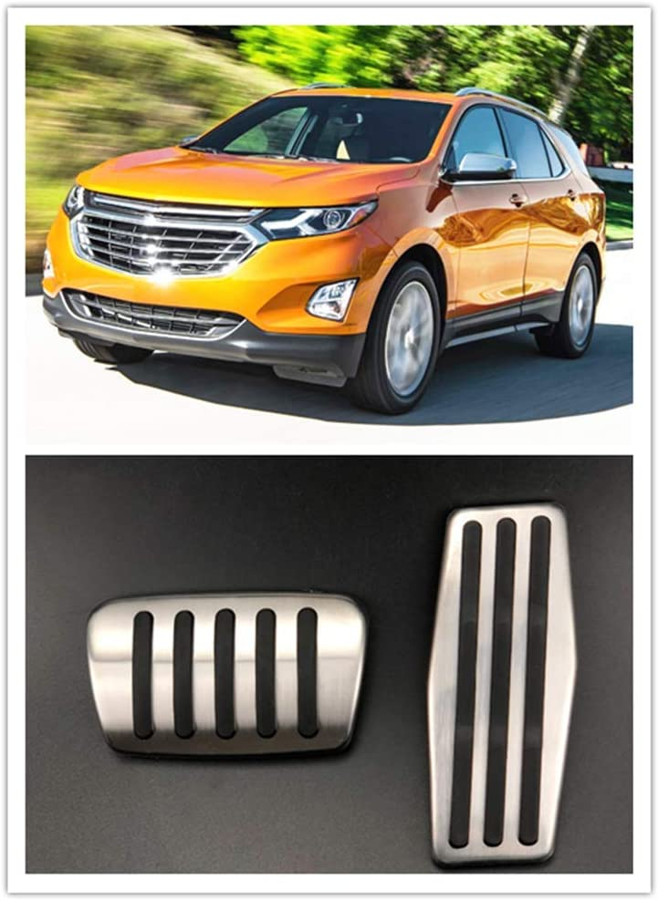 For Chevrolet Equinox Blazer Accessories 2018-2020 Aluminum Automatic Transmission Non-Slip Metal Rubber Fuel Oil Tank Cap Brake Foot Car Gas Pedal Cover Set Kit 2pcs