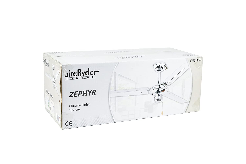 Ventilateur de plafond Zephyr de AireRyder avec commande par tirette 122 cm Rev/êtement chrom/é