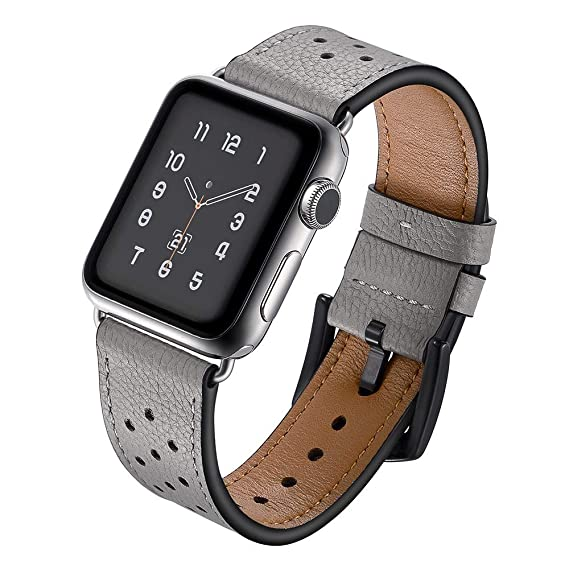 Amazon.com : XBKPLO Sports Leather Band Compatible for Apple Watch Band Series 4 38mm 40mm Series 3/2/1 Replacement Strap Cuff Breathable Bracelet : Pet ...