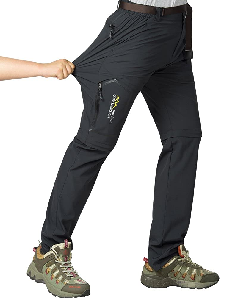 Womens Outdoor Anytime Quick Dry Cargo Pants Convertible Hiking Camping Fishing Zip Off Stretch Trousers #5818-Dark Grey XXL 36
