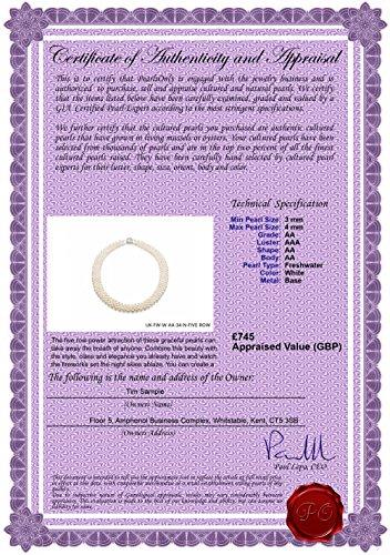 Blanc 3-4mm de qualité AA de culture d'eau douce Collier de perles