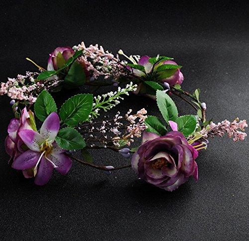 Sun Glower Decorazione per Capelli Stile Bohemienne Artificiale Rose Wreath Beach Headband_Purple