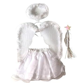 Tinksky Set Trajes del ángel del sistema del * 4pcs / set de la falda del tutú de la varita del ala de la venda Traje determinado del hada de las ...
