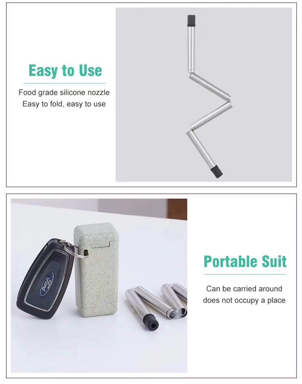 Foldable Straw Stainless Steel BPA Free Food-Grade Straws with Hard Case Babiken 3 Packs Collapsible Reusable Metal Straw