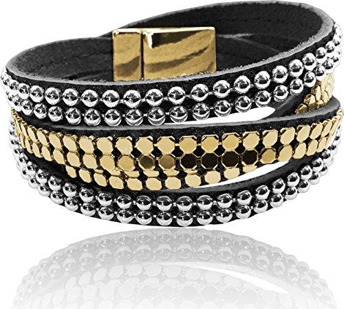 Swarovski Around Bracelet Wrap (LUNA Double Wrap Around Bracelet - Double Wrap Metal Studding - Black/Gold/Silver)