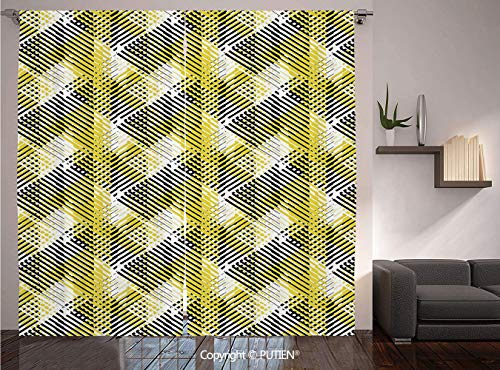 Thermal Insulated Blackout Window Curtain [ Yellow and White,Geometric Pattern with Stripes Triangles Abstract Shapes 80s Style,Yellow Black White ] for Living Room Bedroom Dorm Room Classroom Kitchen
