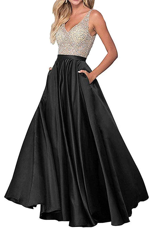 Black Sophie Women's ALine Long Prom Dresses Double VNeck Beaded Satin Evening Party Gowns S294
