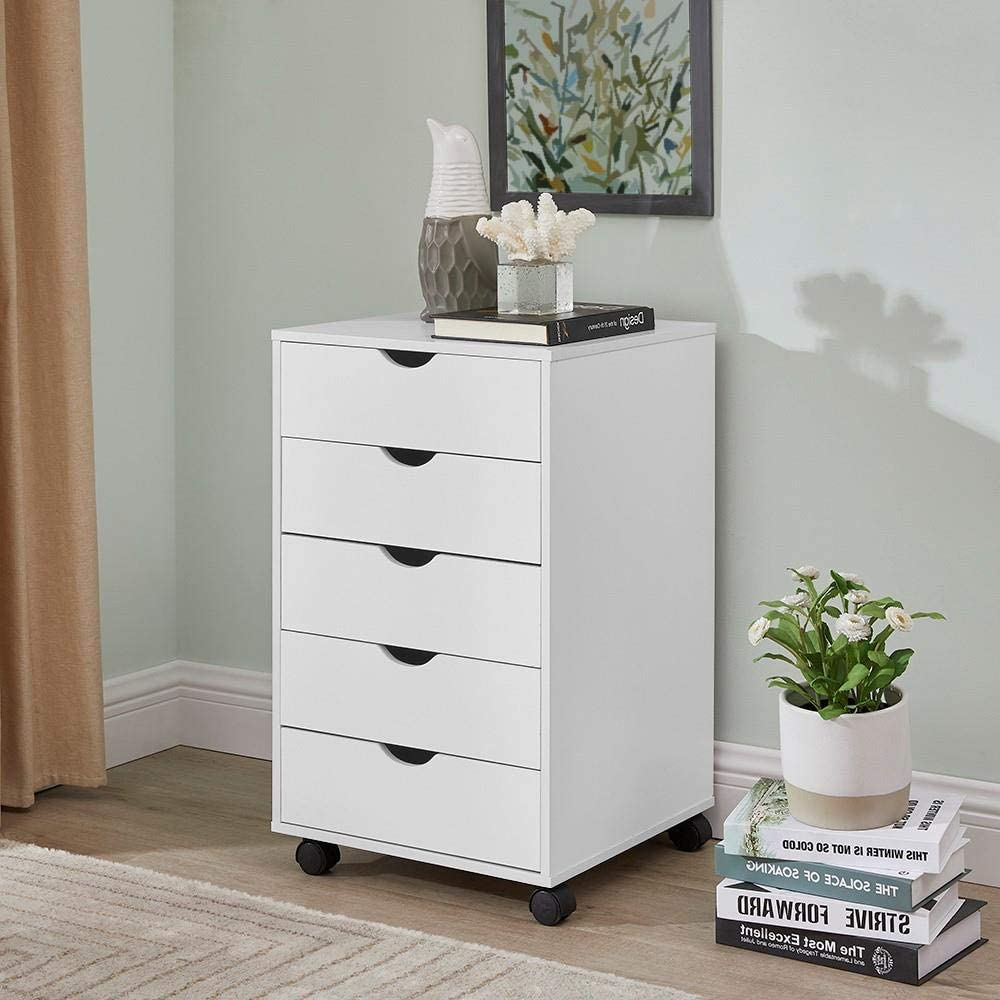 Naomi Home Taylor 5 Drawers Cabinet White