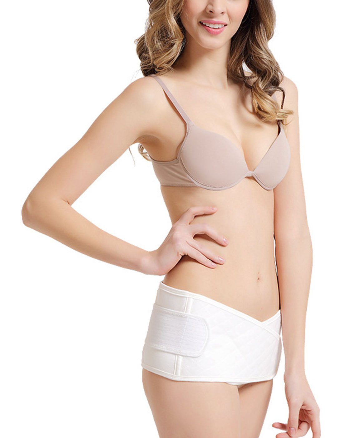 Maternity Belly Belt Breathable and Adjustable Pure Cotton Belly Band for Hip Waist White