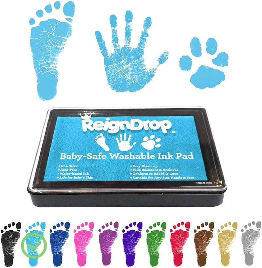REIGNDROP Ink Pad For Baby Footprint, Handprint, Create Impressive Keepsake Stamp, Non-Toxic and Acid-Free Ink, Easy To Wipe and Wash Off Skin, Smudge Proof, Long Lasting Keepsakes (Sky Blue)