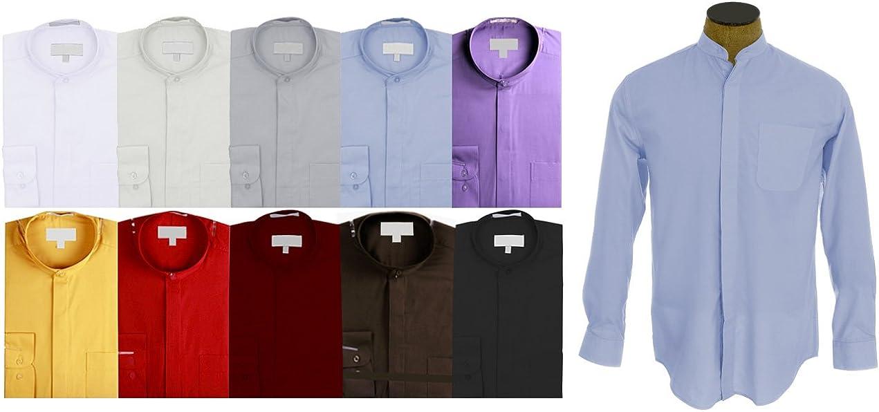 Sunrise Outlet Mens Collarless Banded Collar Dress Shirt