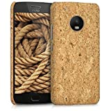 kwmobile funda de corcho para Motorola Moto G5 Plus - funda protectora Case Cover en marrón claro