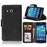 Galaxy Avant Case, Galaxy Core LTE Case, SATURCASE Retro Frosted PU Leather Flip Magnet Wallet Stand Card Slots Case Cover for Samsung Galaxy Core LTE 4G / Avant SM-G386F (Black)