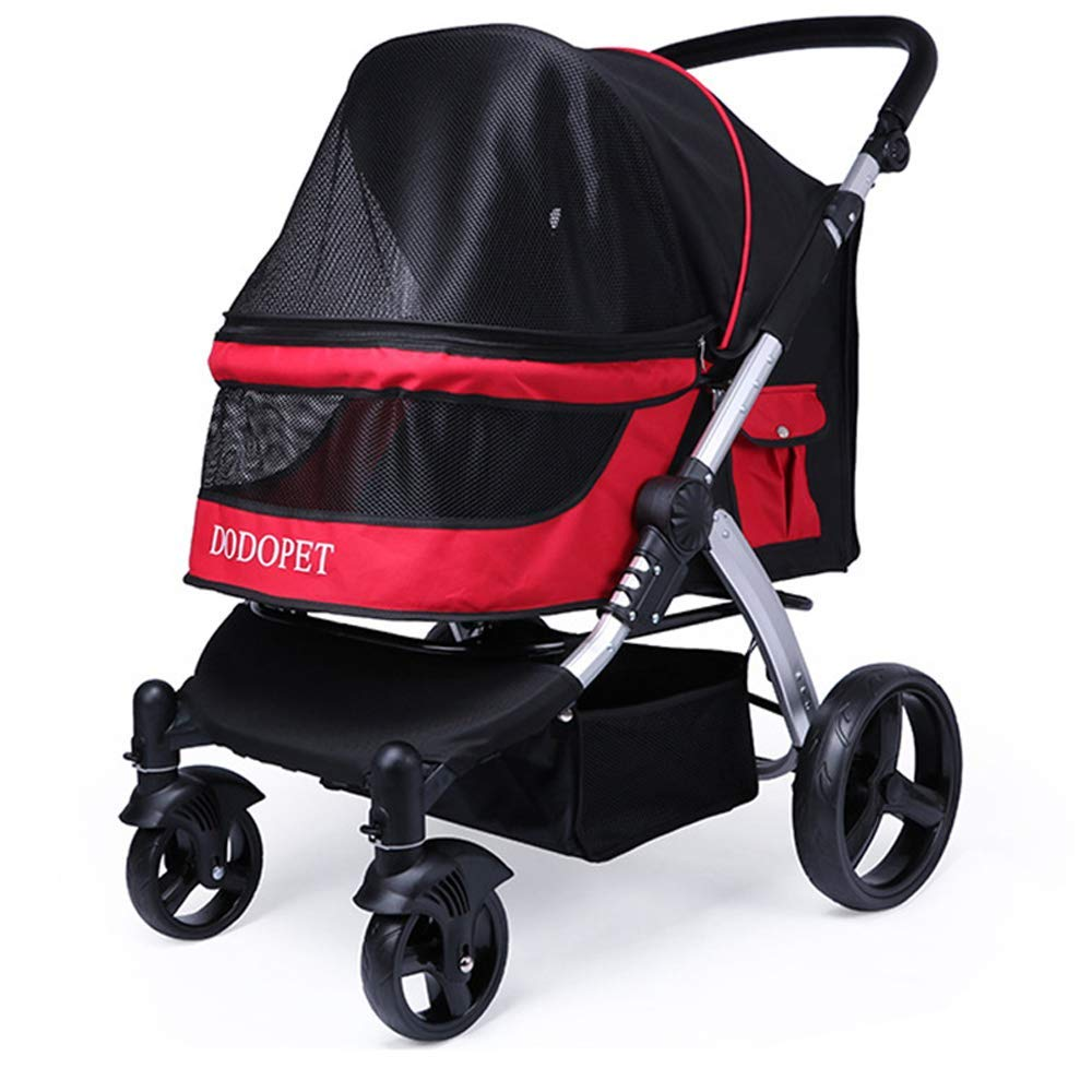 Red Pet Trolley, Stroller Pet Cart Four-Wheel Foldable Breathable Anti-Slip Handle Suitable for Medium 40kg Or Less,Red