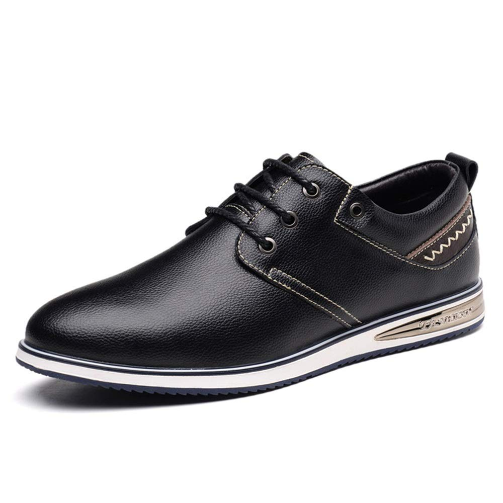 Black JIALUN-shoes Men's Simple Fashion Oxford Four Seasons Style Simple Laces Comfortable Casual shoes