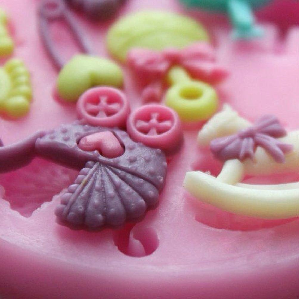 Miniatura Cochecito de bebé Baby Shower niña cigüeña resina arcilla de polímero de silicona Fondant Candy Mold: Amazon.es: Hogar