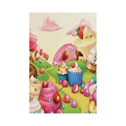 Polyester Garden Flag Outdoor Flag House Flag Banner,Modern,Yummy Donuts Sweet  Land Cupcakes
