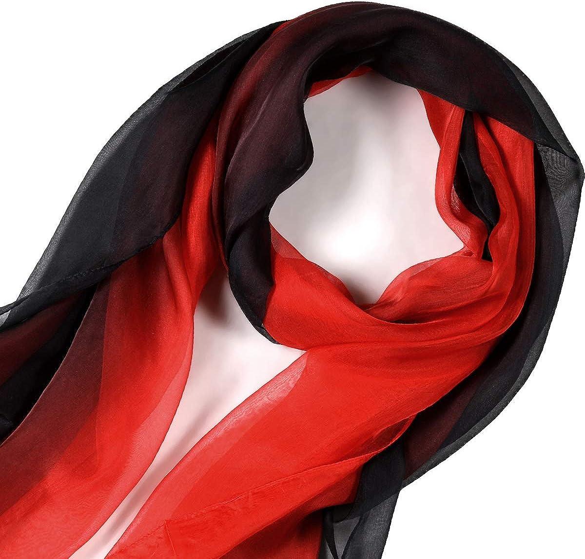 Sciarpa di Seta 100/% Seta Scialle Lungo e Leggero per Protezione Solare per Donne
