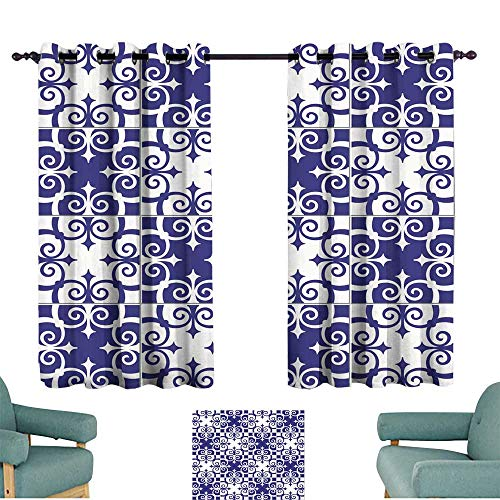 (Sliding Curtains Gorgeous seamless pattern white blue Moroccan Portuguese tiles Azulejo ornaments Can be used for wallpaper pattern fills web page background surface textures privacy protection 55