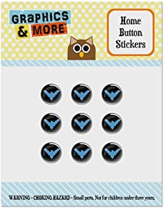 Batman Nightwing Logo Set of 9 Puffy Bubble Home Button Stickers Fit Apple iPod Touch, iPad Air Mini, iPhone 5/5c/5s 6/6s 7/7s Plus