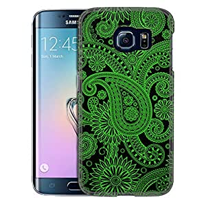 Samsung Galaxy S6 Edge Case, Slim Snap On Cover Paisleys Outline Green on Black Case