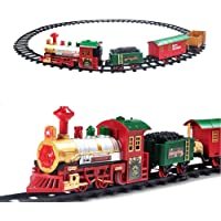 PUSITI Classic Christmas Train Set Toys Railway Tracks with Lights and Sounds Battery Operated Locomotive Engine Coach…