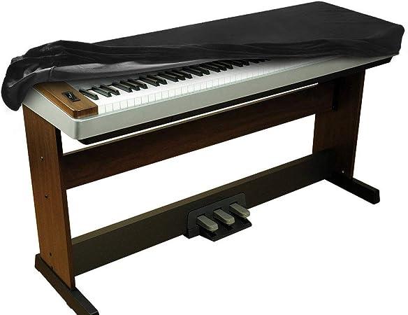 Funda para teclado digital de piano GOMILE con 88 teclas, a prueba de polvo, tela de terciopelo elástico para Yamaha Casio (negro)
