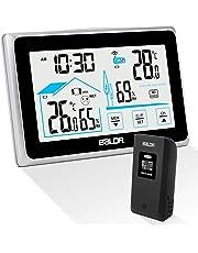 Qomolo Stazione Meteorologica Termometro Igrometro Digitale con Sensore umidità Interno Esterno Wireless per Dentro e Fuori per Previsione di Tempo, Temperatura Umidita Barometro Fase Lunare