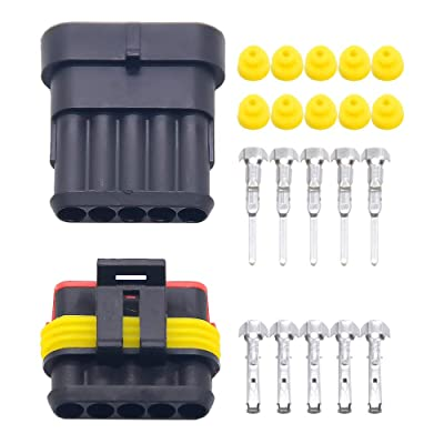 10 sets Kit Way Super seal 5 Pin Waterproof Electrical Wire Connector Plug for car used for 16-22awg (5P): Automotive