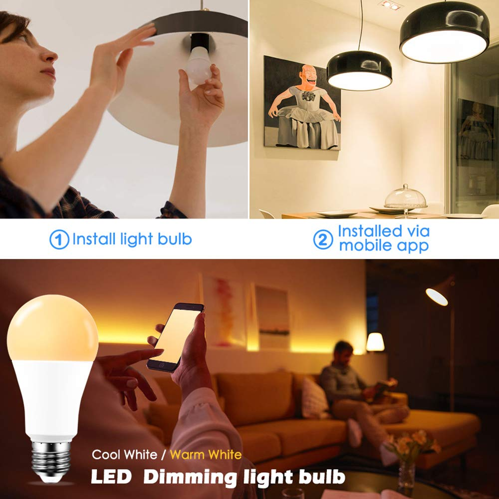 Energy Class A+ -2700K Smart Light Bulbs B22 SUNJULY 4Pcs 15W Remote Control Bulb Colour Changing Compatible with Alexa//Google Home Voice Control APP Remote=100W
