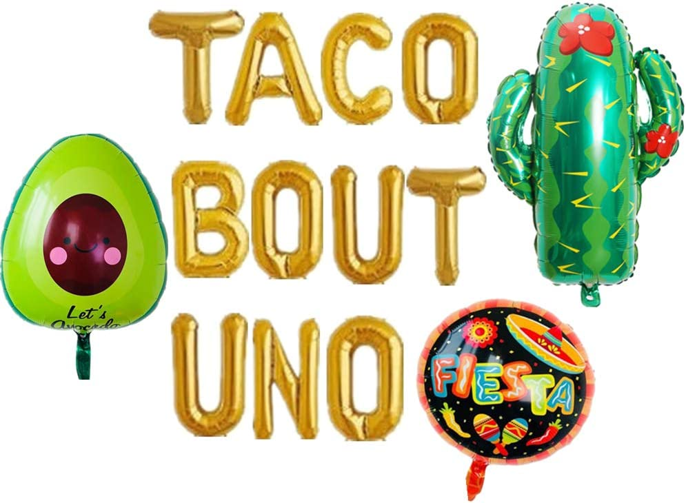 LaVenty Set of 4 Taco Bout UNO Balloon Taco Bout One Balloon Garland Fiesta One Balloon Garland Cinco de Mayo Fiesta First Birthday Decoration Fiesta 1st Birthday Decor
