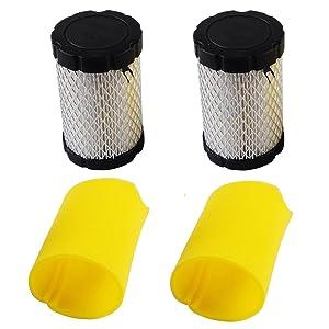 KlirAir Air Filters Replace Briggs Stratton 796031 (591334 or 594201) Plus 797704 Foam Pre-Cleaner (Pack of 2)
