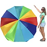 EasyGo Rainbow Beach Umbrella Kids - Portable Wind Beach Umbrella Large – Folding Beach Umbrella Set with Screw Anchor and Carrying Bag