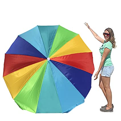 Image of: Beach Umbrella With Easygo Rainbow Beach Umbrella Portable Wind Large u2013 Folding Set With Amazoncom