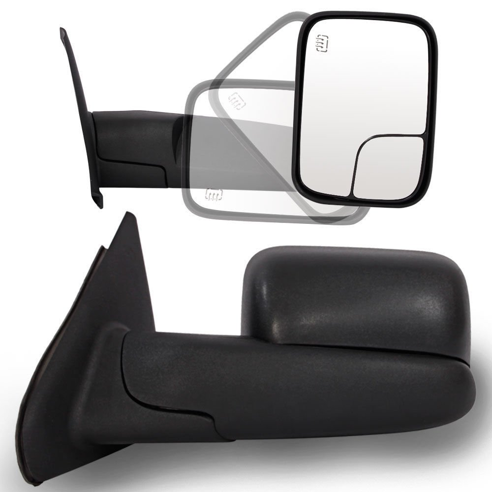 Roadstar Towing Mirrors for 02-08 Dodge Ram 1500 | 03-09 Dodge Ram 2500 3500 Pickup Truck Power Heated Tow Extend Flip Up Power Heated Folding Side View Black Mirror Pair Set by Roadstar
