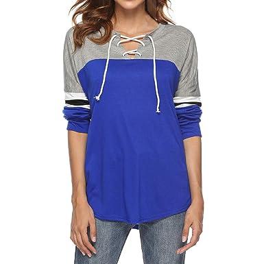 bb3fc5b1673 Yvelands Sweat-Shirt Soldes Femme Manches Longues ÉPissage Couleur Top  Attacher La Corde Personnalité Chemise