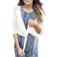 Tutorutor Womens Bolero Shrug Sweaters Lightweight Cropped 3/4 Short Sleeve Summer Fall Knitted Tie Knot Cardigans