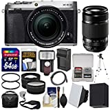 Fujifilm X-E3 4K Digital Camera & 18-55mm XF (Silver) with 55-200mm Lens + 64GB Card + Case + Flash + Battery & Charger + Tripod + Filters + Kit