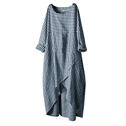 Amazon.com : Women Long Sleeves Dresses, Summer Cotton Linen ...